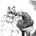 man shaking money from kids pockets